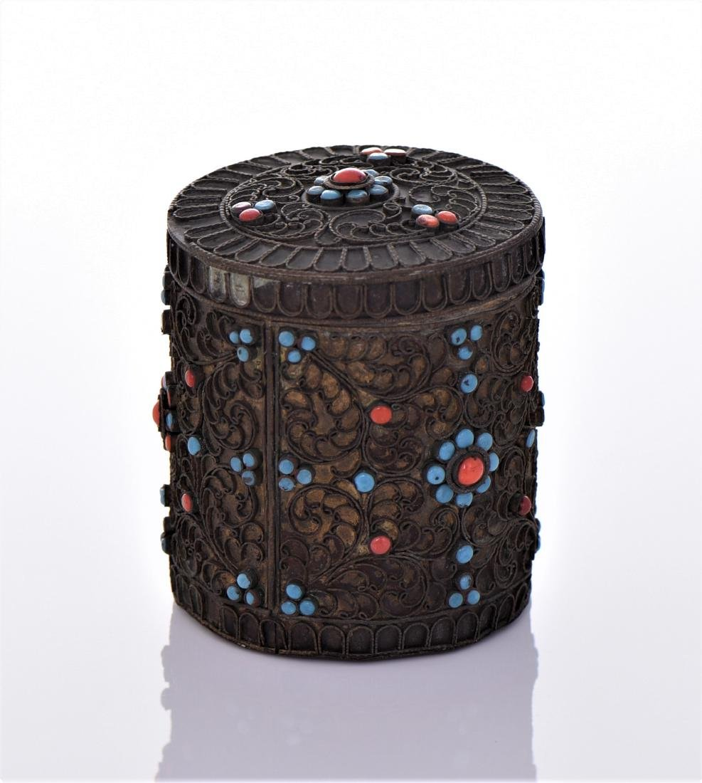Tibetan Container Decorated With Turquoise And Red - 2
