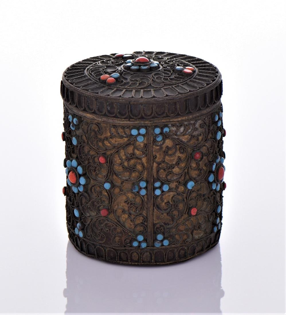 Tibetan Container Decorated With Turquoise And Red - 3