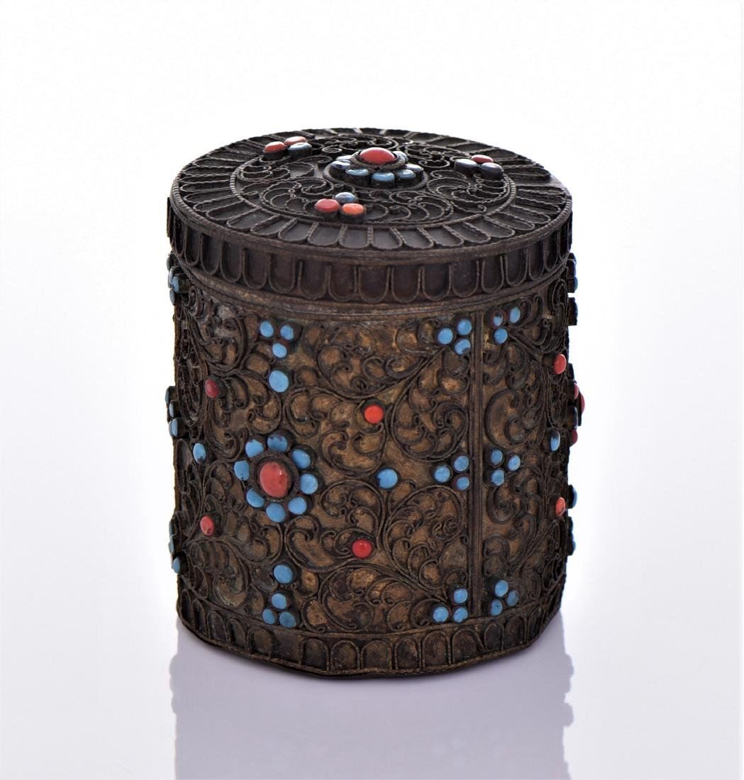 Tibetan Container Decorated With Turquoise And Red - 4