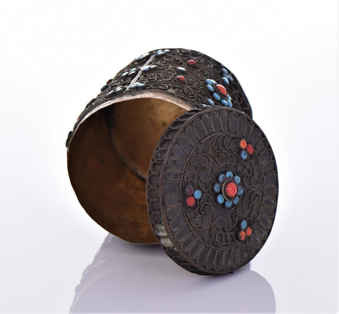 Tibetan Container Decorated With Turquoise And Red - 5