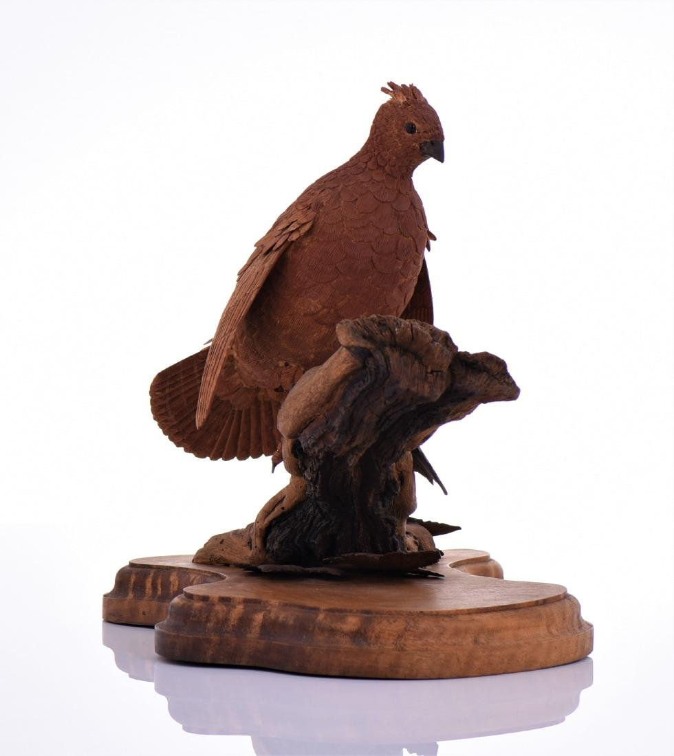 Vintage Wood Carved Bird Perched On Driftwood And - 2