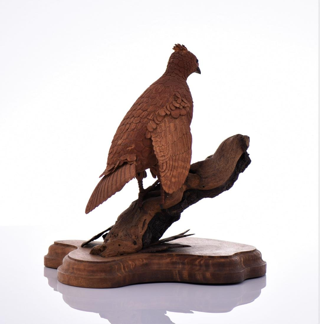 Vintage Wood Carved Bird Perched On Driftwood And - 3