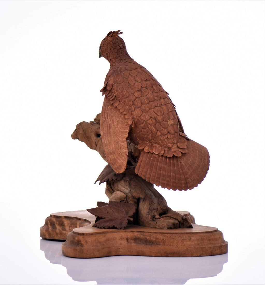 Vintage Wood Carved Bird Perched On Driftwood And - 4