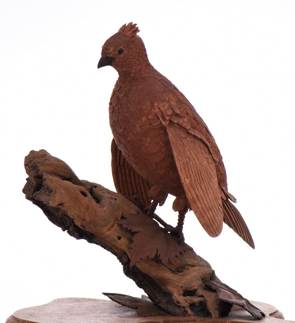 Vintage Wood Carved Bird Perched On Driftwood And - 5