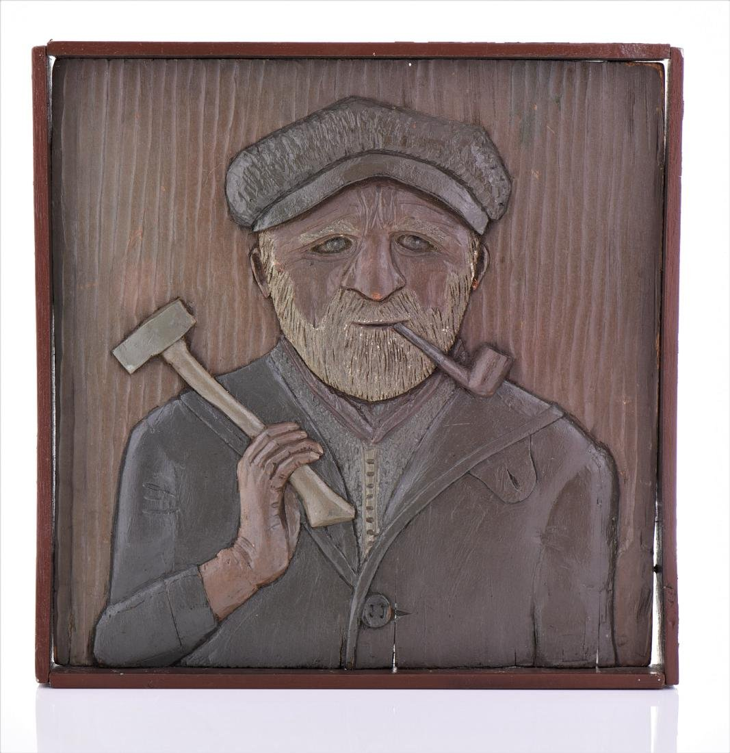 Wood Carved Relief of a Longshoreman or Fisherman