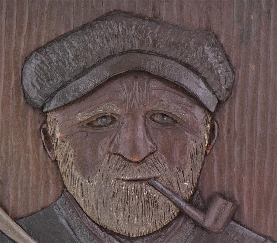 Wood Carved Relief of a Longshoreman or Fisherman - 3