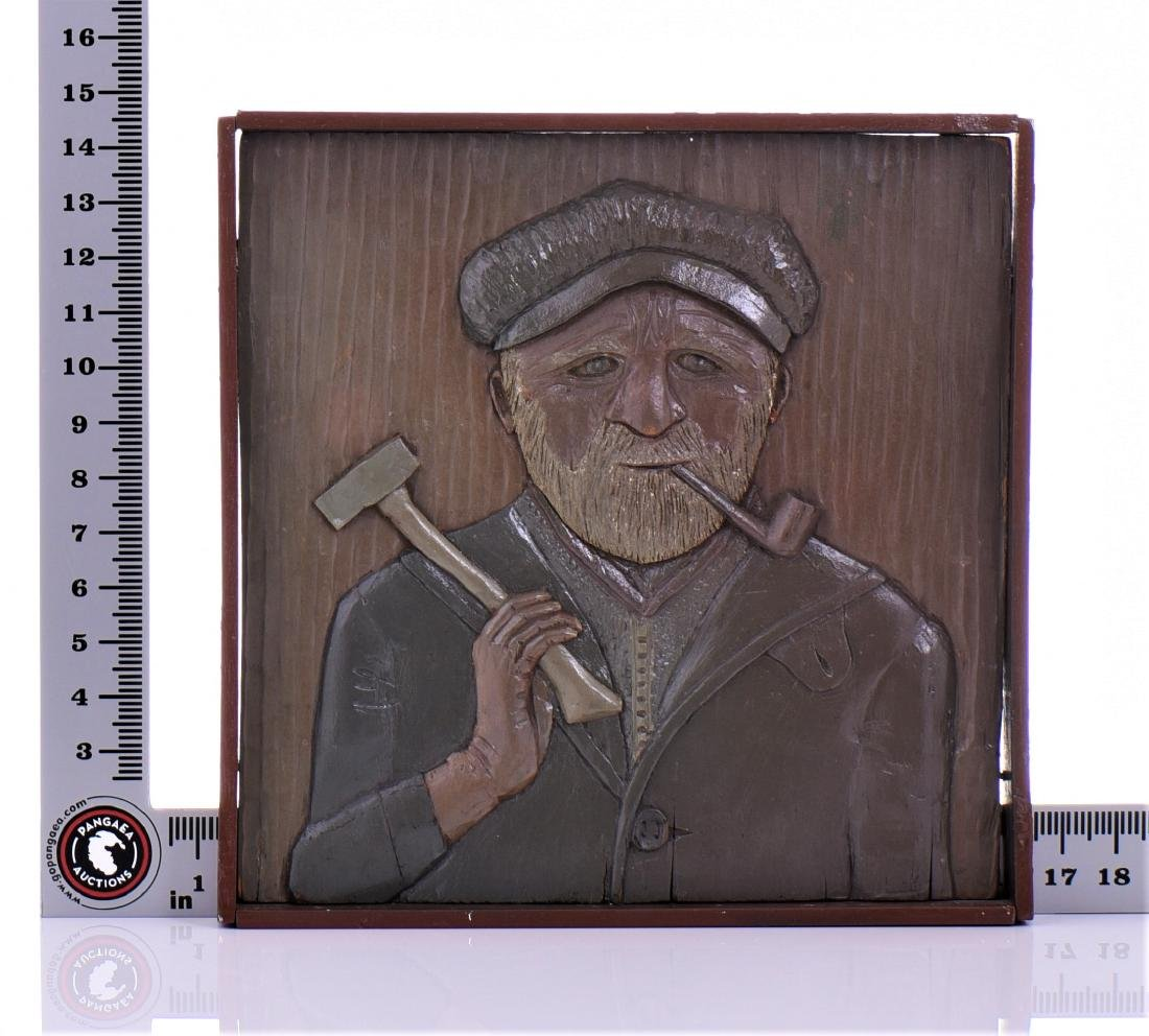 Wood Carved Relief of a Longshoreman or Fisherman - 5