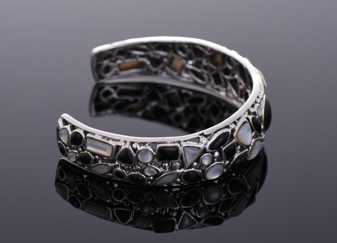 Unique Sterling Silver Black Onyx And Mother of - 2