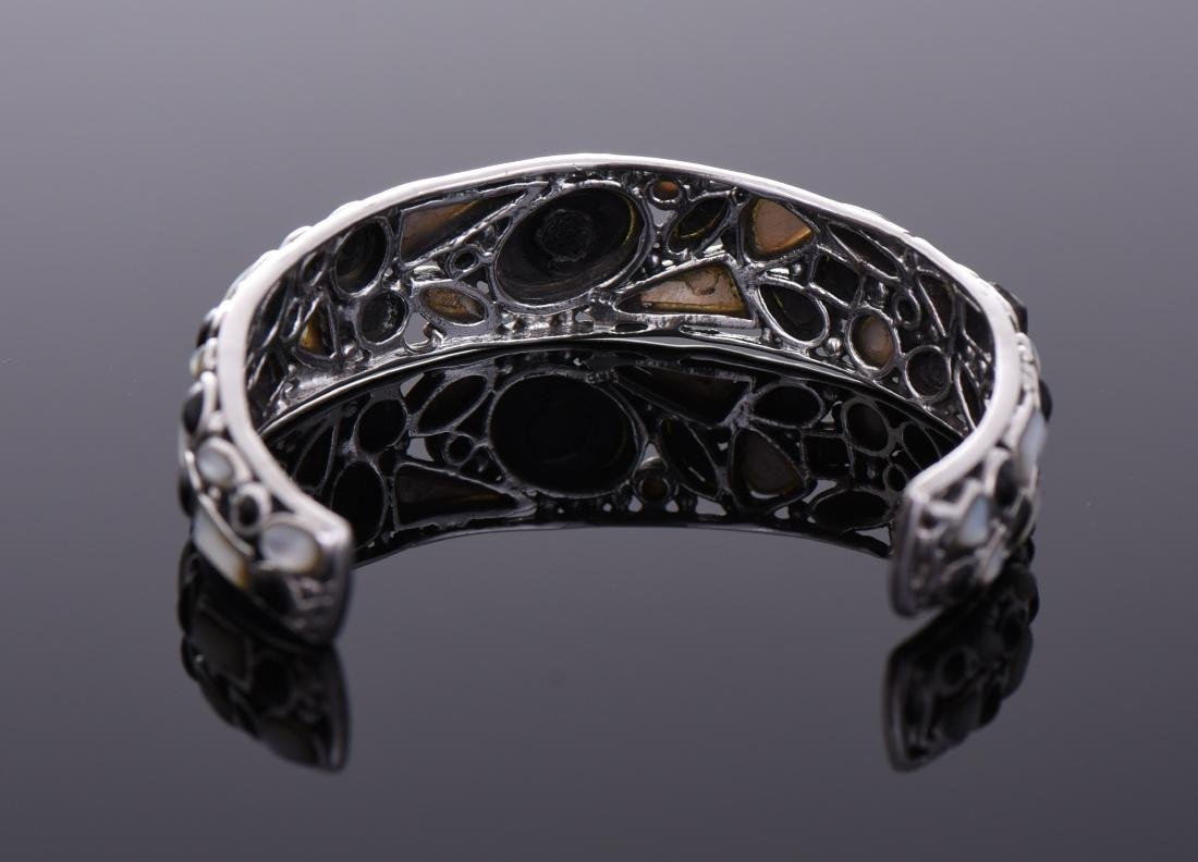 Unique Sterling Silver Black Onyx And Mother of - 3