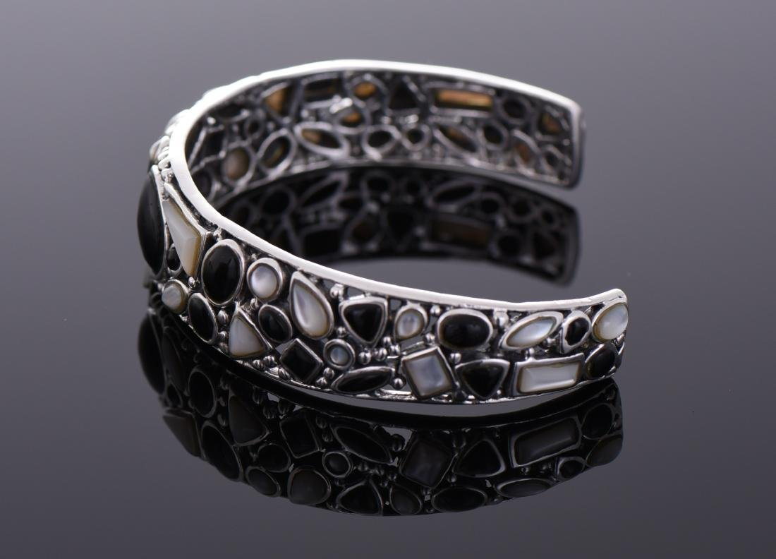 Unique Sterling Silver Black Onyx And Mother of - 4