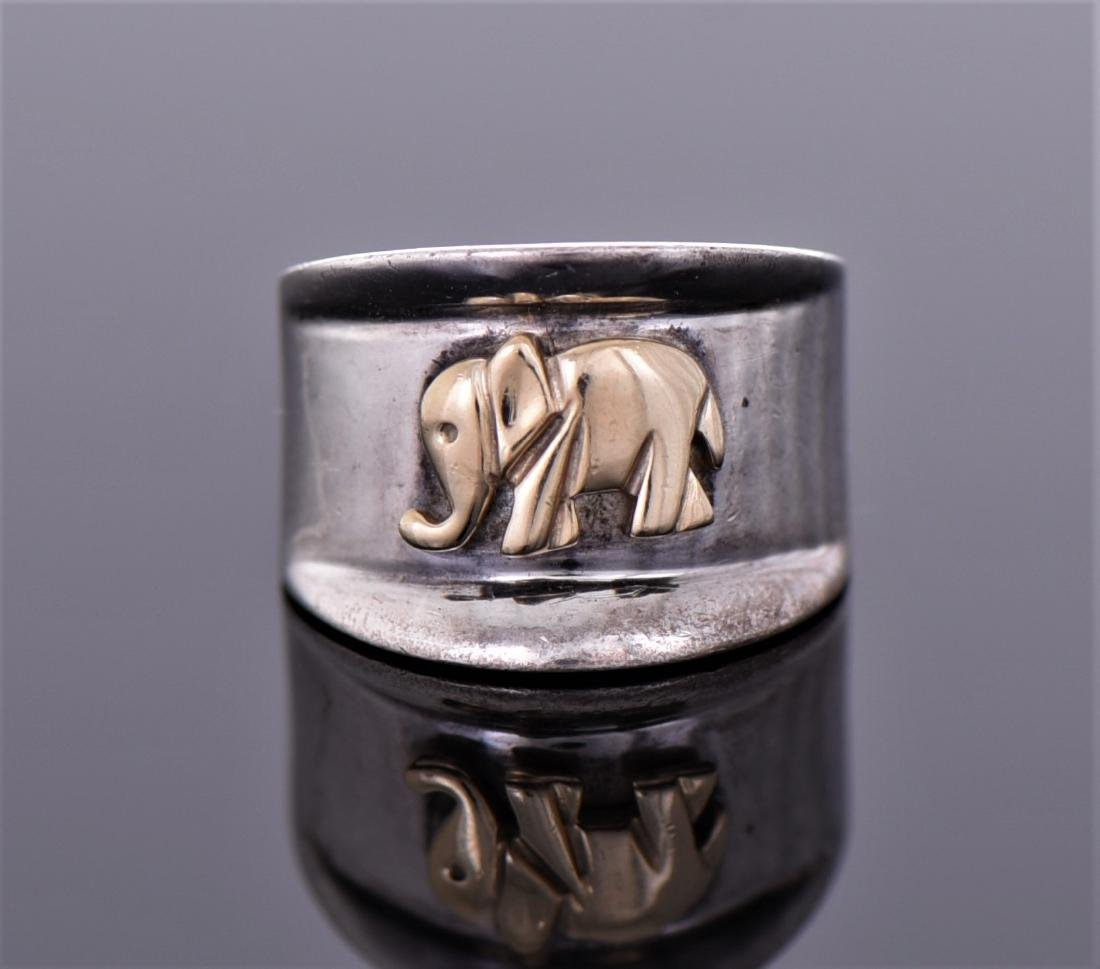 Sterling Silver Ring With 14K Gold Elephant Accent