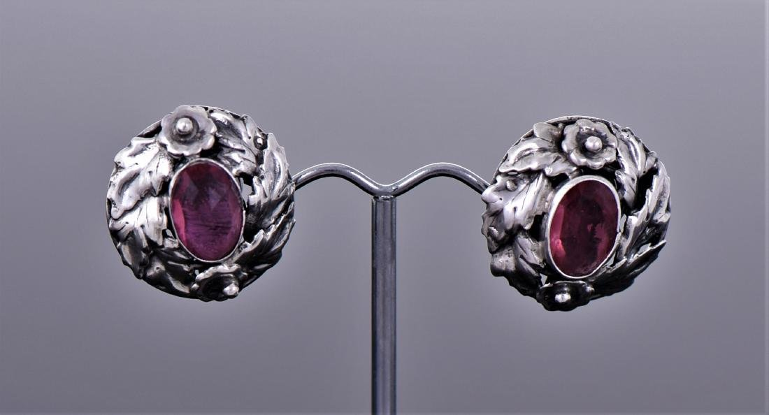 Antique Ruby Sterling Silver Earrings.