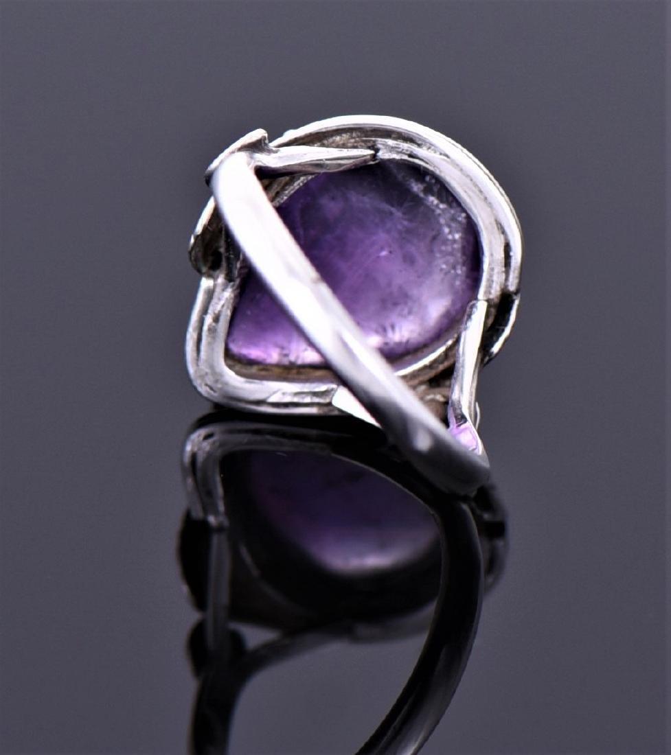 Vintage Amethyst Sterling Silver Ring. - 3