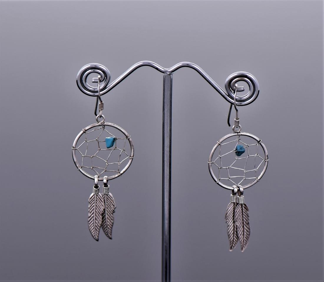 Navajo Dream Catcher Feather Blue Turquoise
