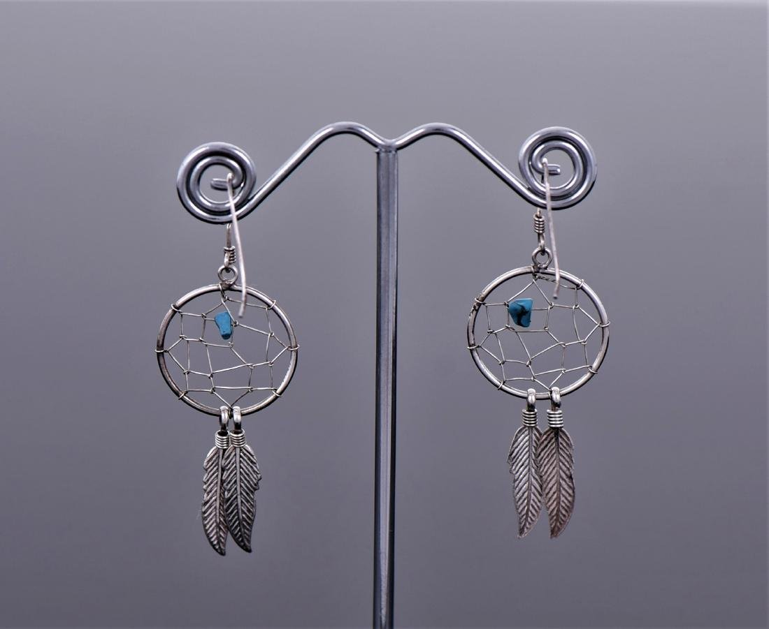 Navajo Dream Catcher Feather Blue Turquoise - 2