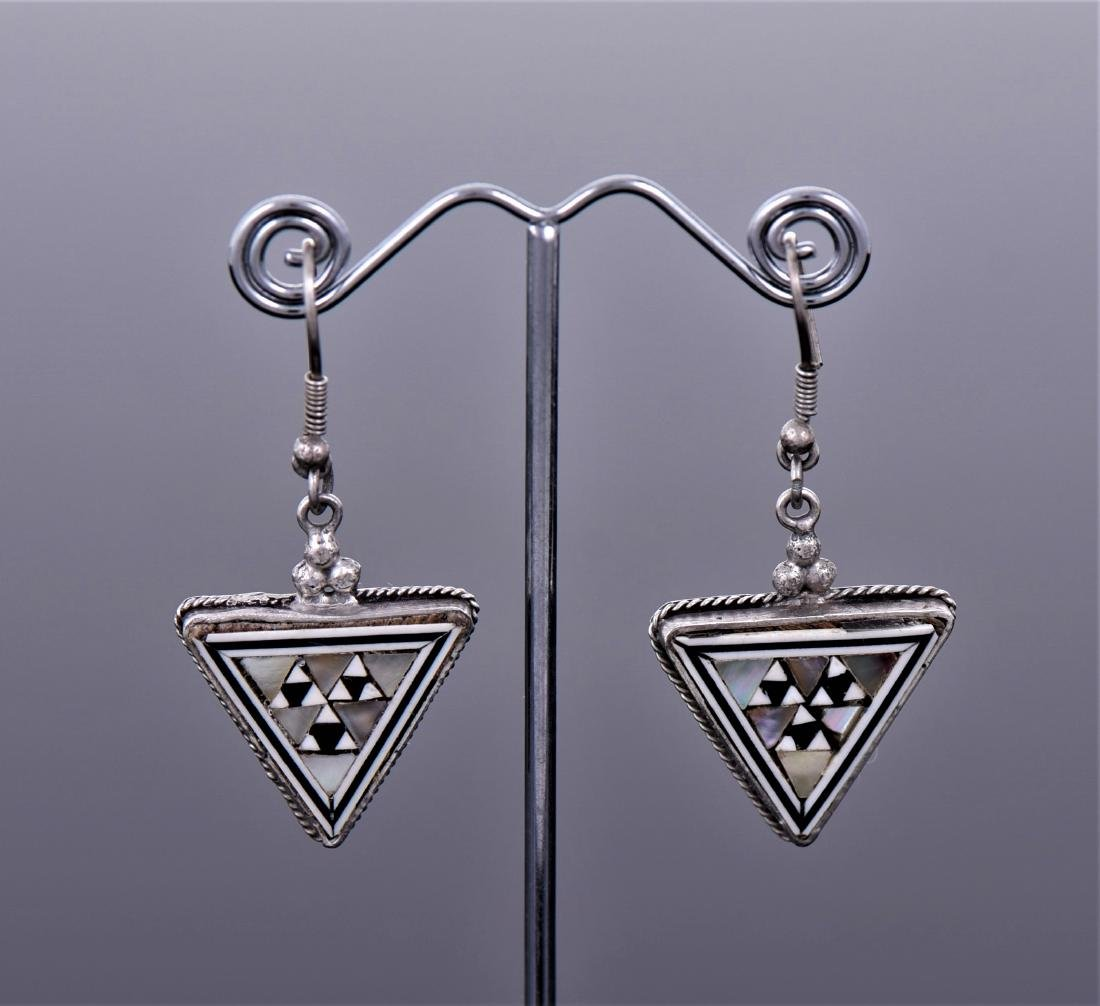 Syrian Inlaid Sterling Silver Earrings.