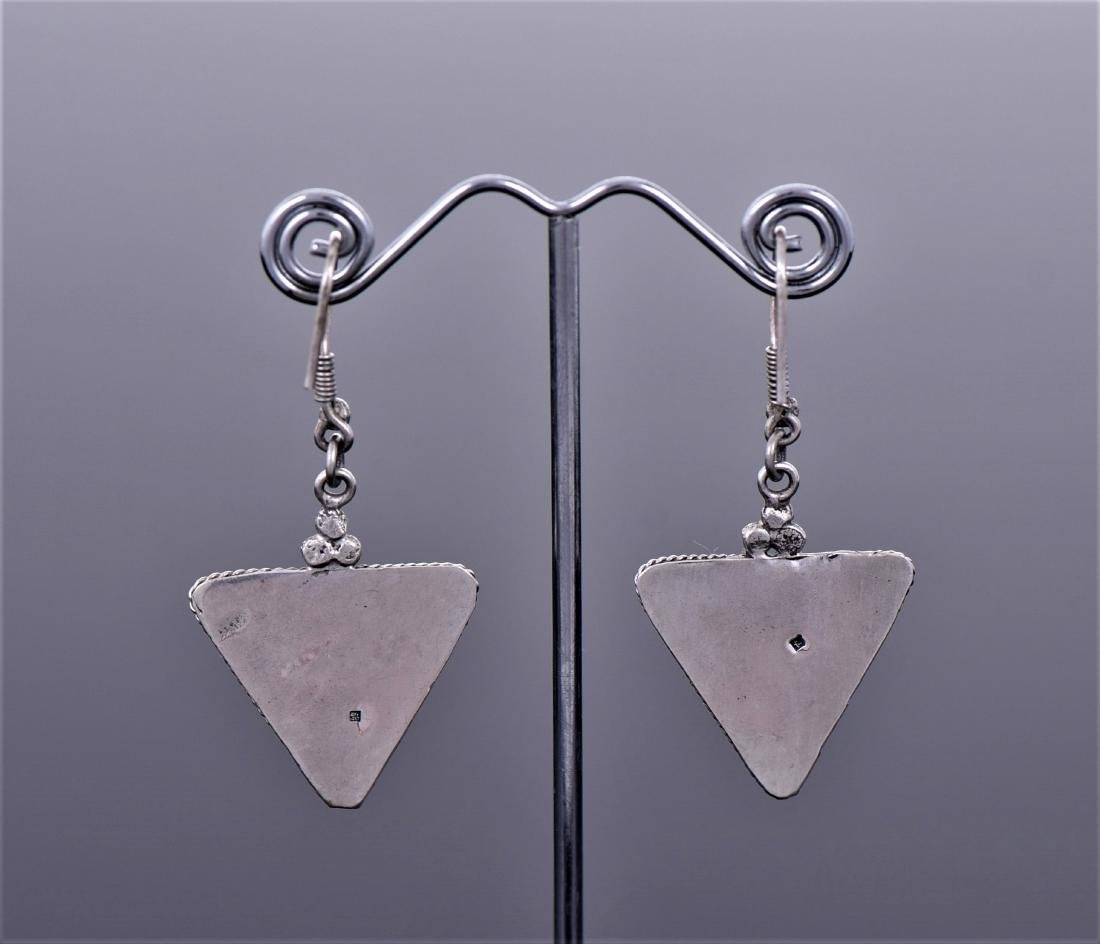 Syrian Inlaid Sterling Silver Earrings. - 2