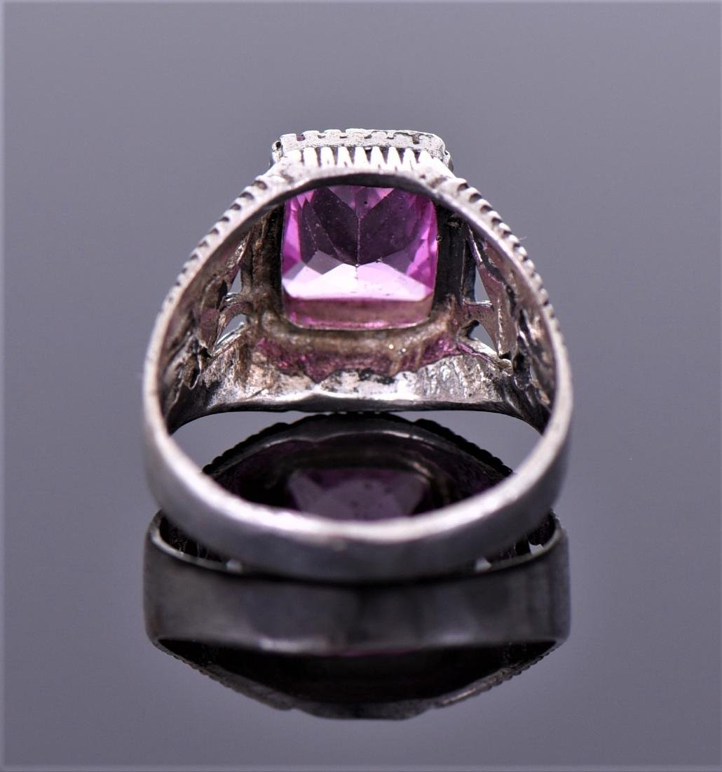 Vintage Amethyst Sterling Silver Ring. - 2