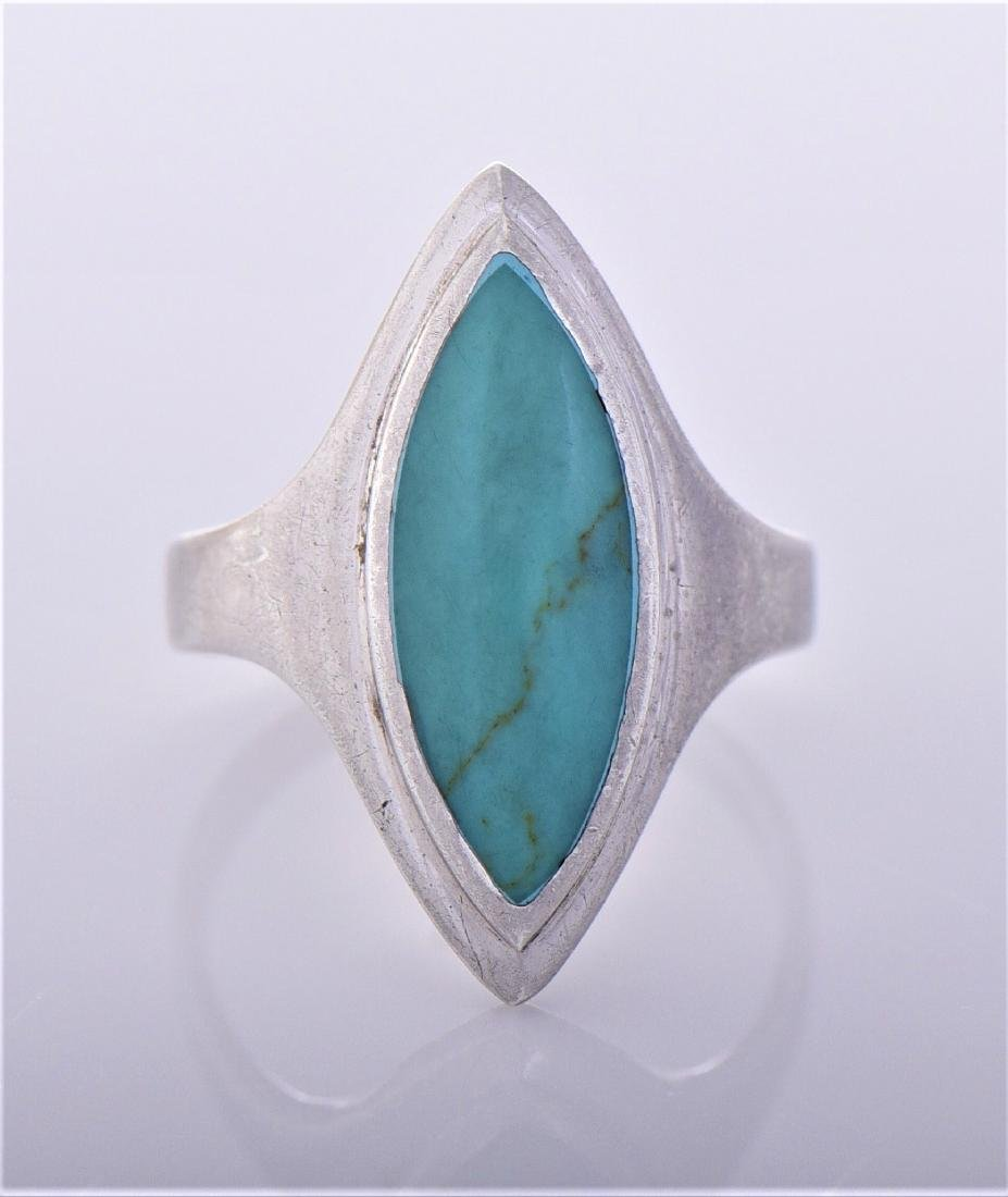 Turquoise Sterling Silver Ring, Thailand. Silver