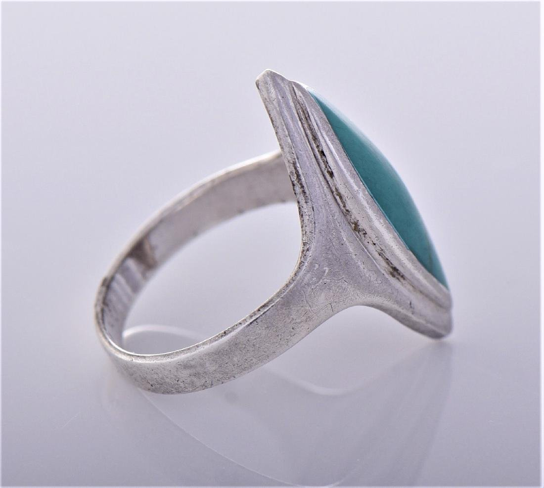 Turquoise Sterling Silver Ring, Thailand. Silver - 2