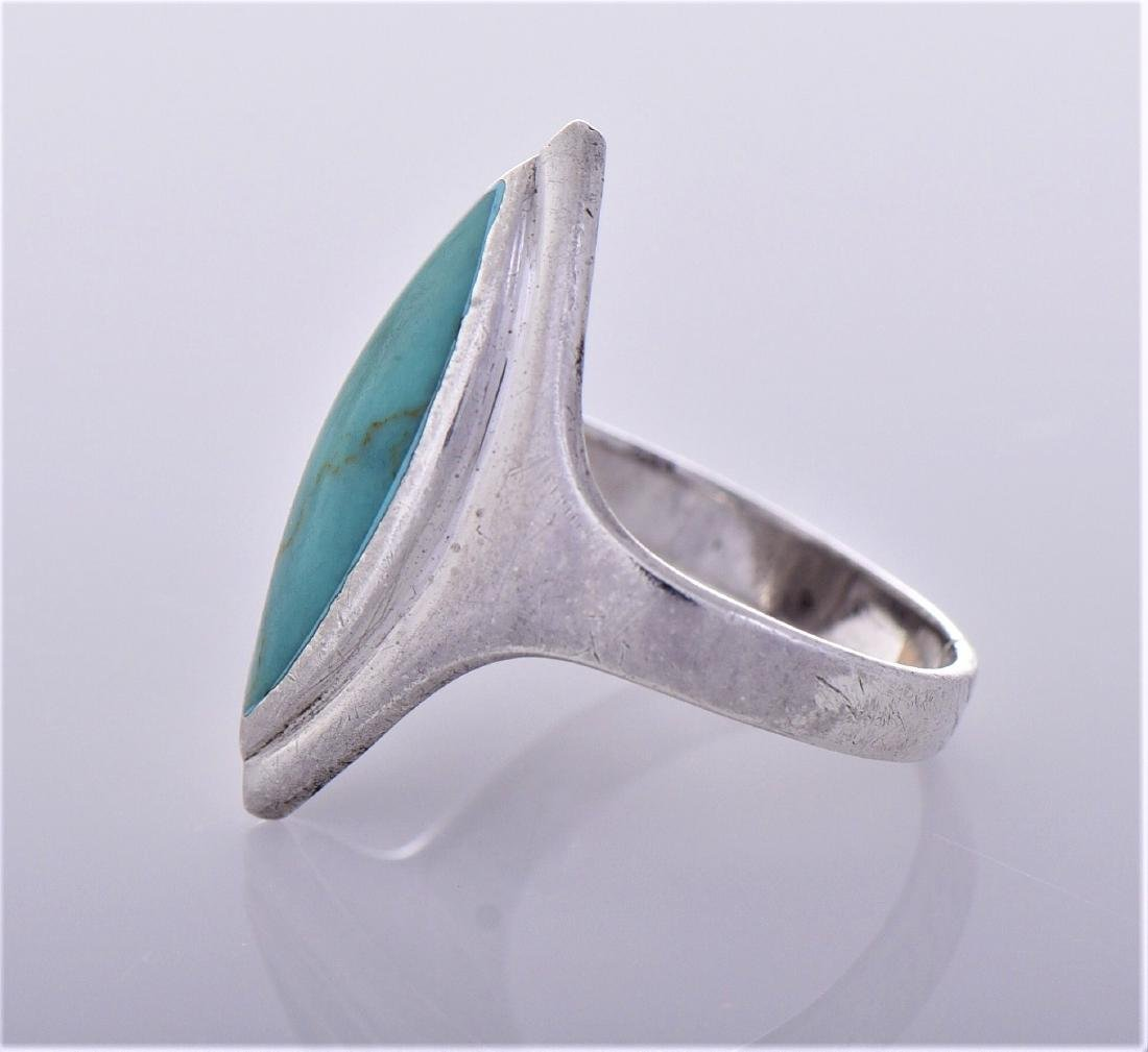 Turquoise Sterling Silver Ring, Thailand. Silver - 3