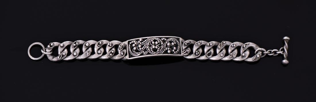 Lois Hill, Heavy Sterling Silver Link Bracelet,