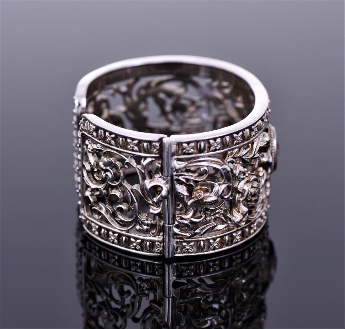 Heavy Vintage Sterling Silver Cuff Bracelet - 2