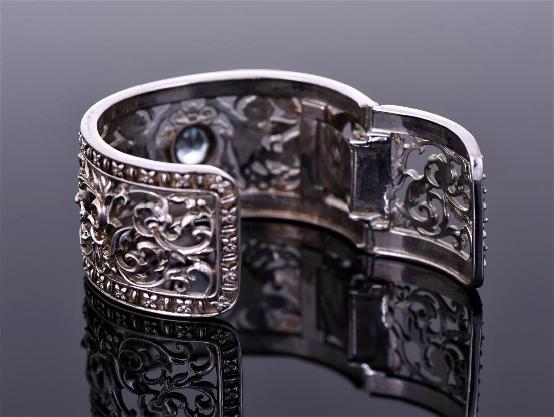Heavy Vintage Sterling Silver Cuff Bracelet - 4