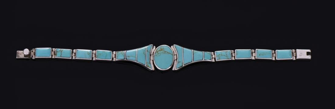 Vintage Blue Turquoise Sterling Silver Link