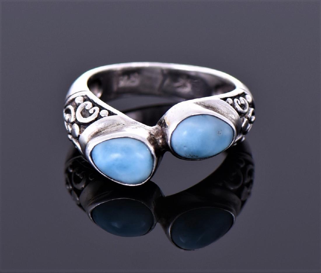 Vintage Larimar Sterling Silver Ring With Floral