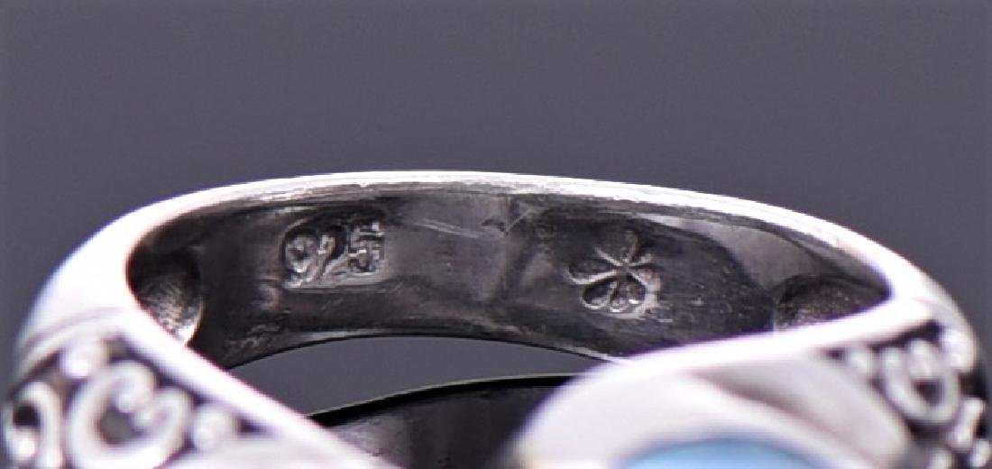Vintage Larimar Sterling Silver Ring With Floral - 2