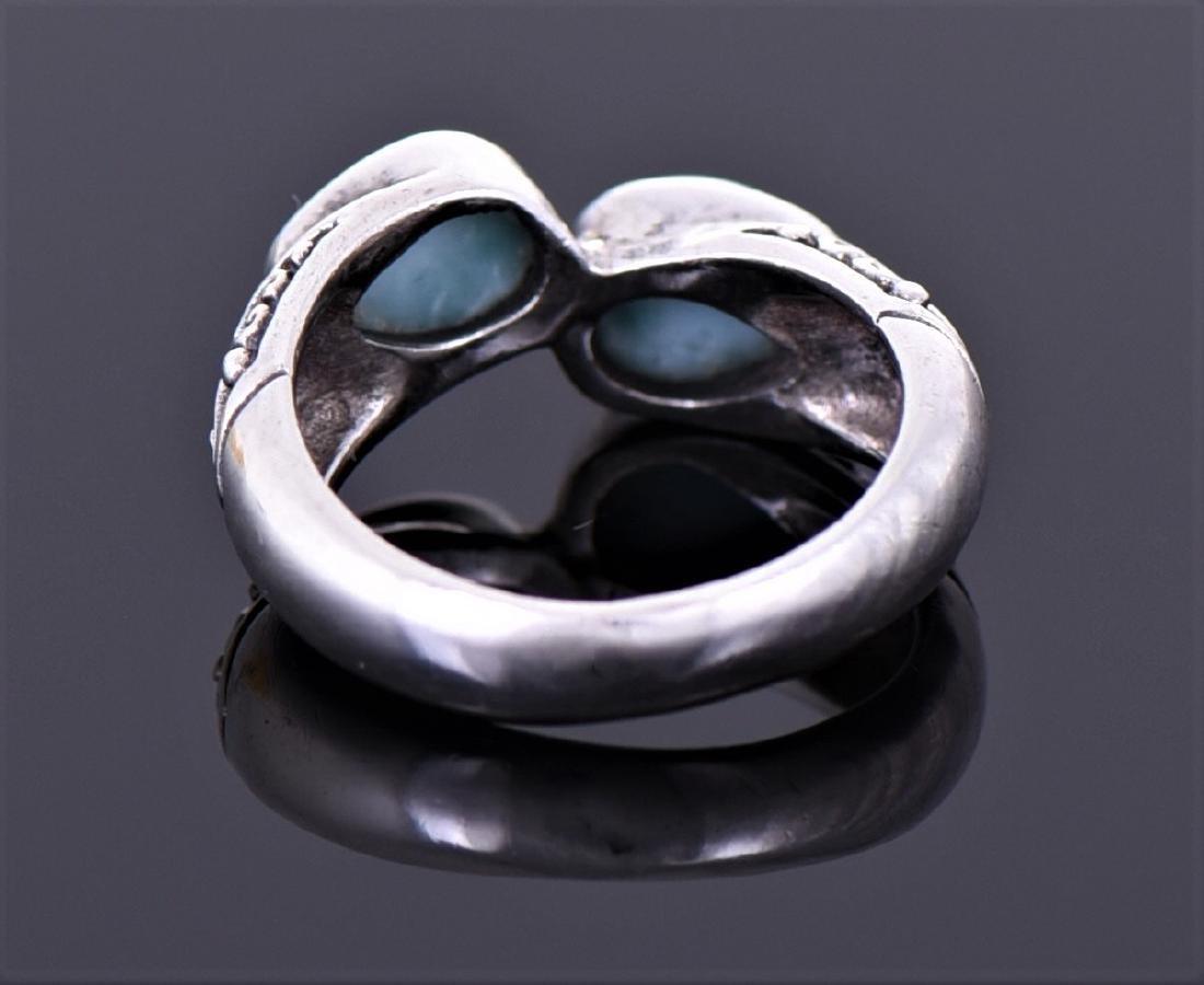 Vintage Larimar Sterling Silver Ring With Floral - 3