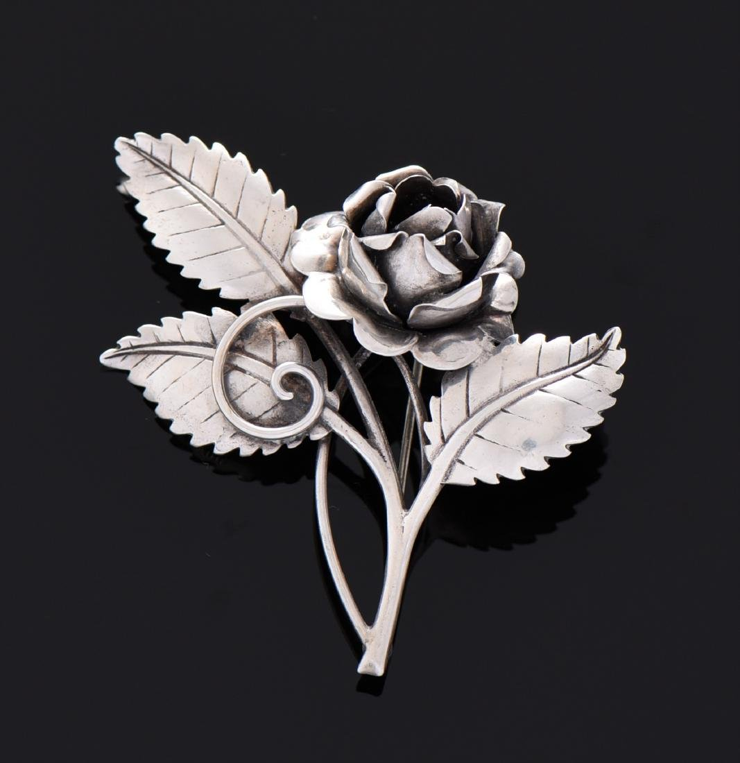 Antique Sterling Silver Rose Brooch.