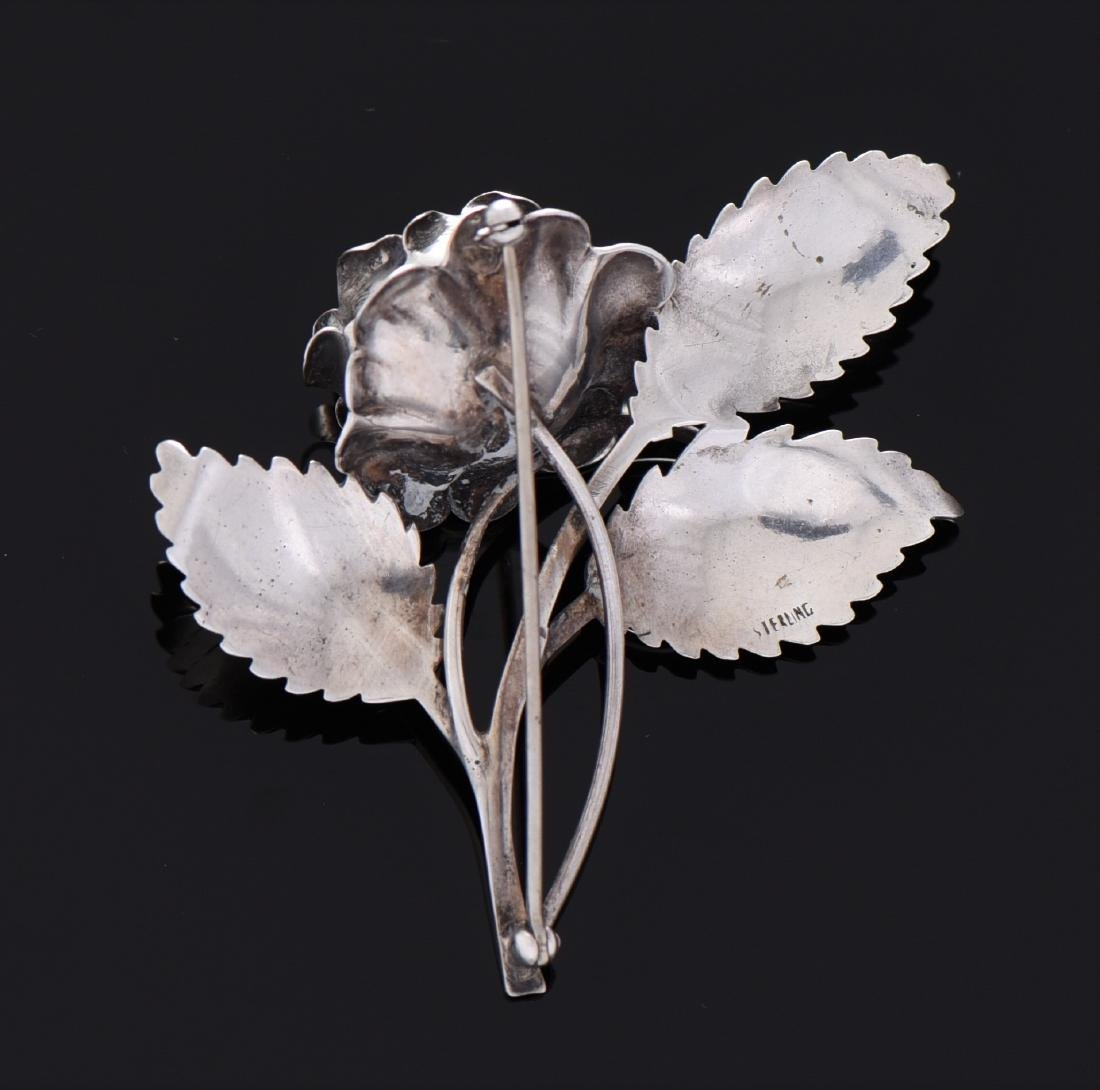 Antique Sterling Silver Rose Brooch. - 2