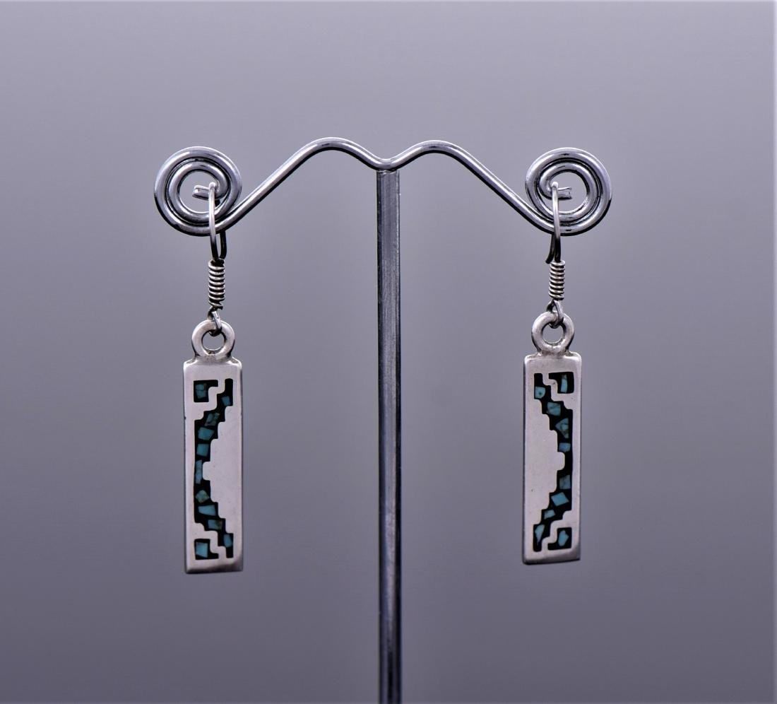Blue Turquoise Chip Sterling Silver Bar Earrings.