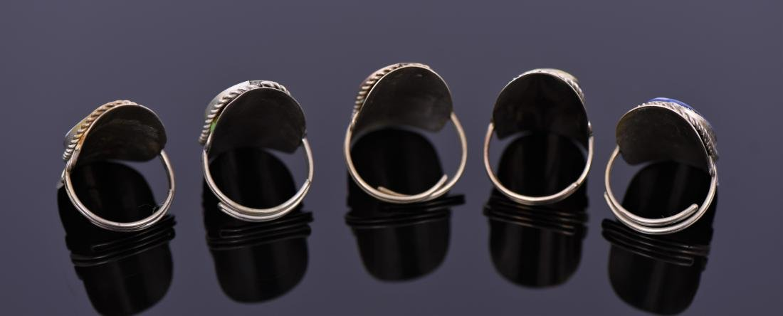 Five Tibetan Silver Rings With Beautiful Center - 2