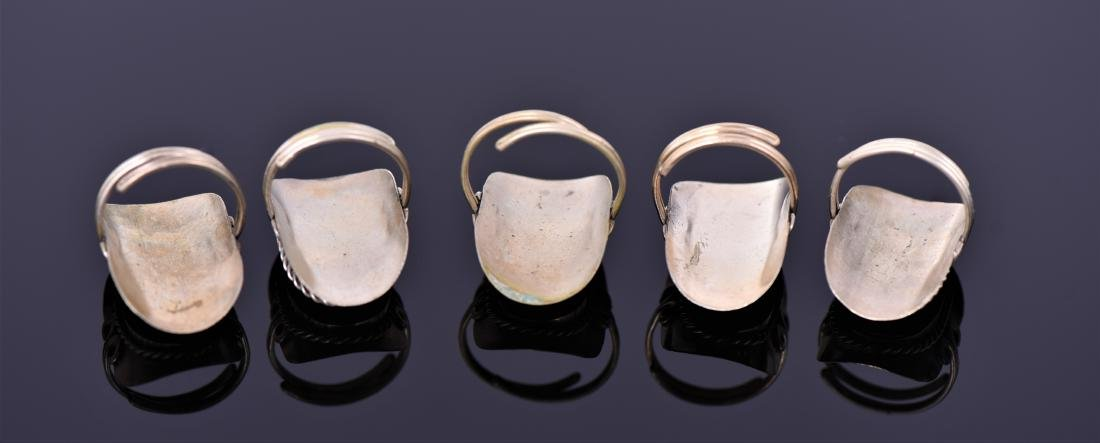 Five Tibetan Silver Rings With Beautiful Center - 3