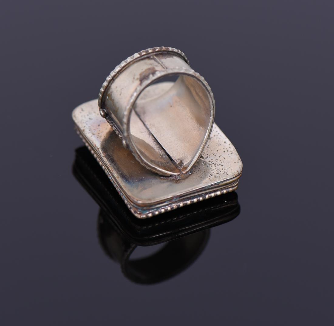 Tibetan Silver Turquoise And Carnelian Ring. - 4