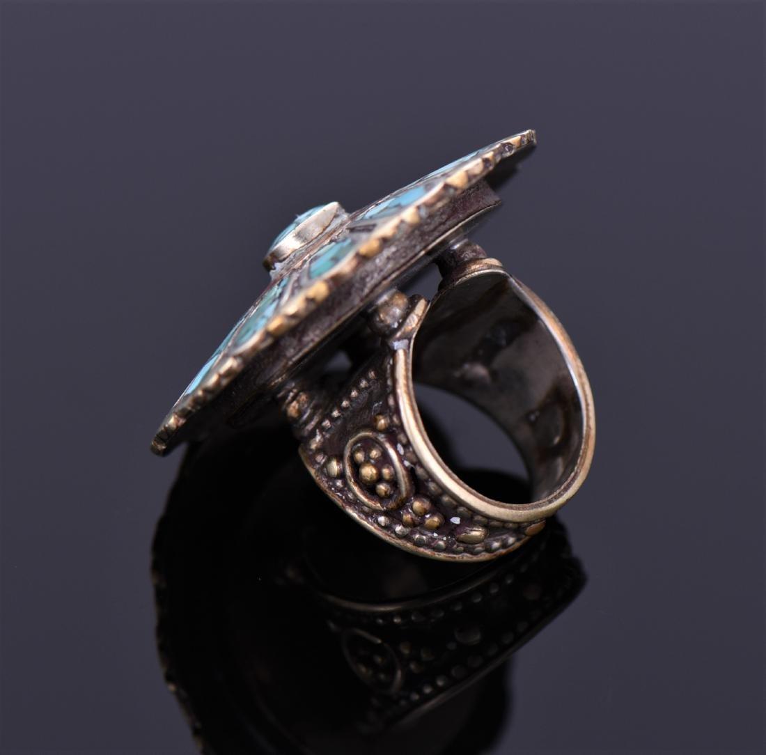 Tibetan Silver Turquoise And Carnelian Ring. - 3