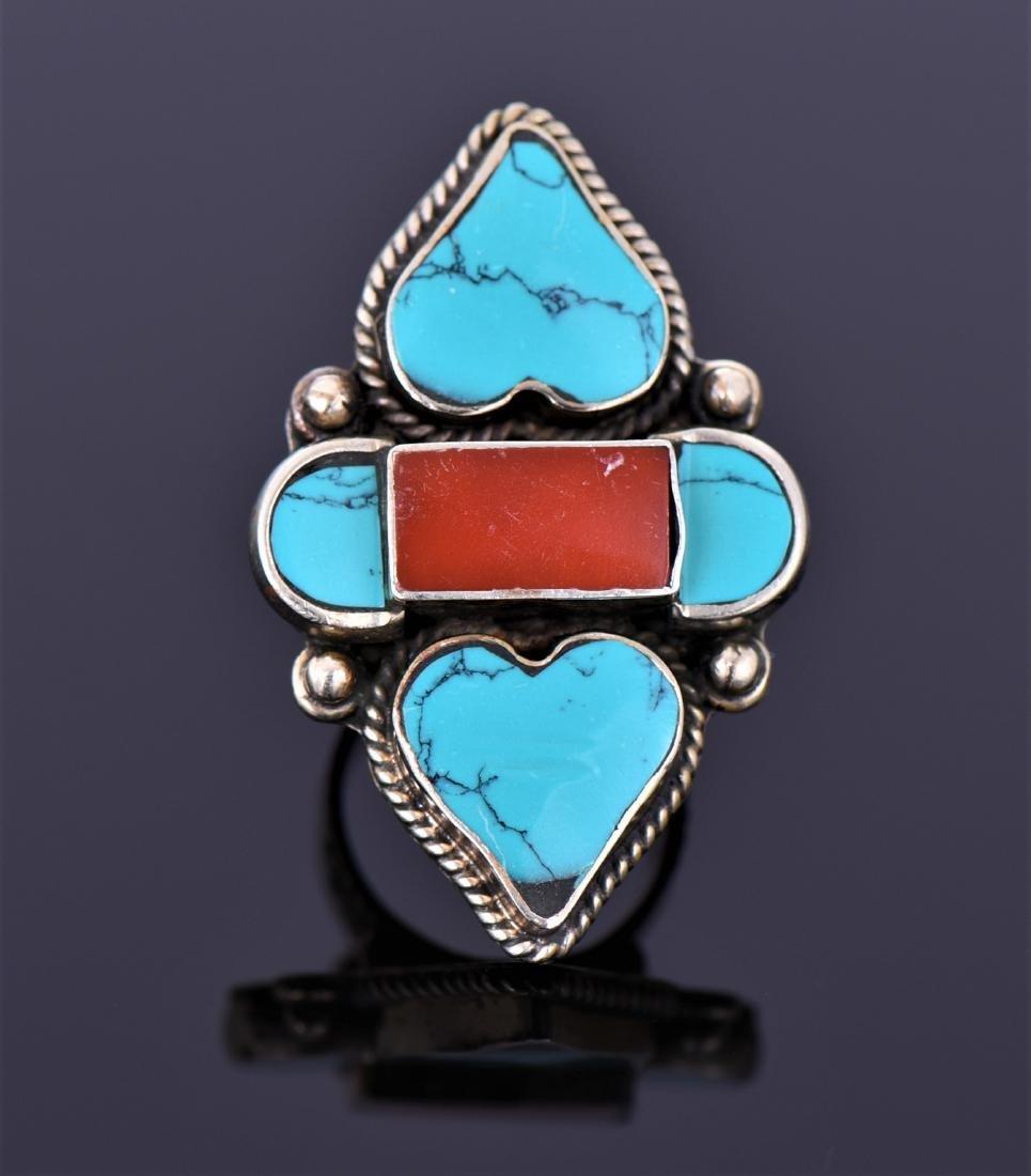 Tibetan Silver Turquoise And Carnelian Ring.