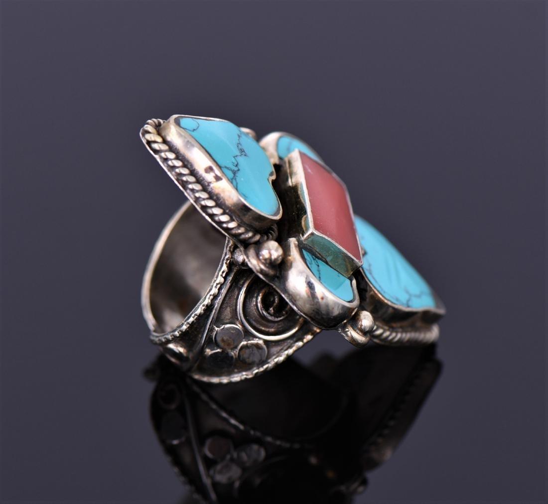 Tibetan Silver Turquoise And Carnelian Ring. - 2