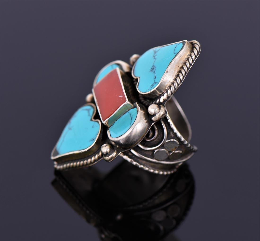 Tibetan Silver Turquoise And Carnelian Ring. - 3