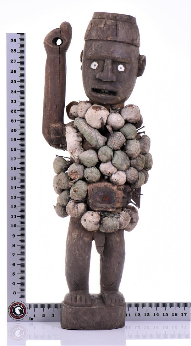 African Congo Yombe Nail Power Figure Fetish, - 10