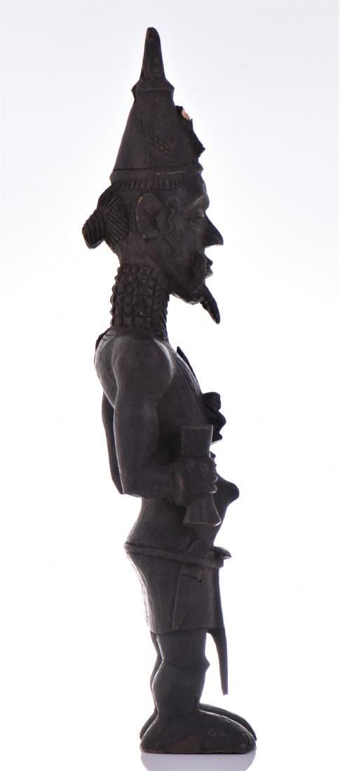 African Lulua Wood Power Figure Warrior King, - 2