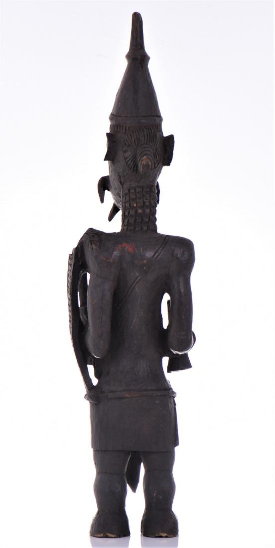 African Lulua Wood Power Figure Warrior King, - 3