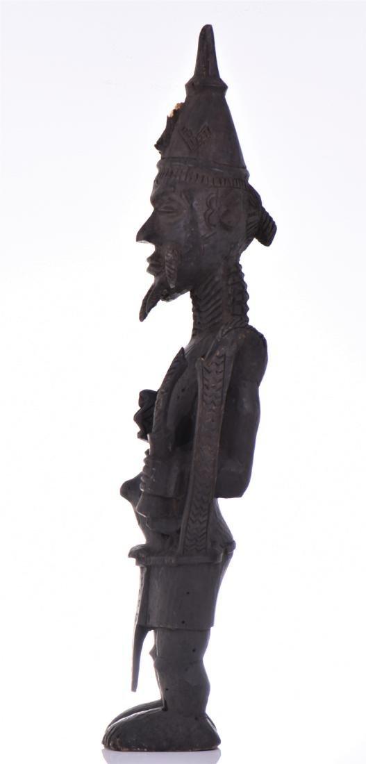 African Lulua Wood Power Figure Warrior King, - 4