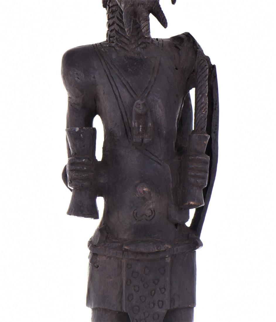 African Lulua Wood Power Figure Warrior King, - 6