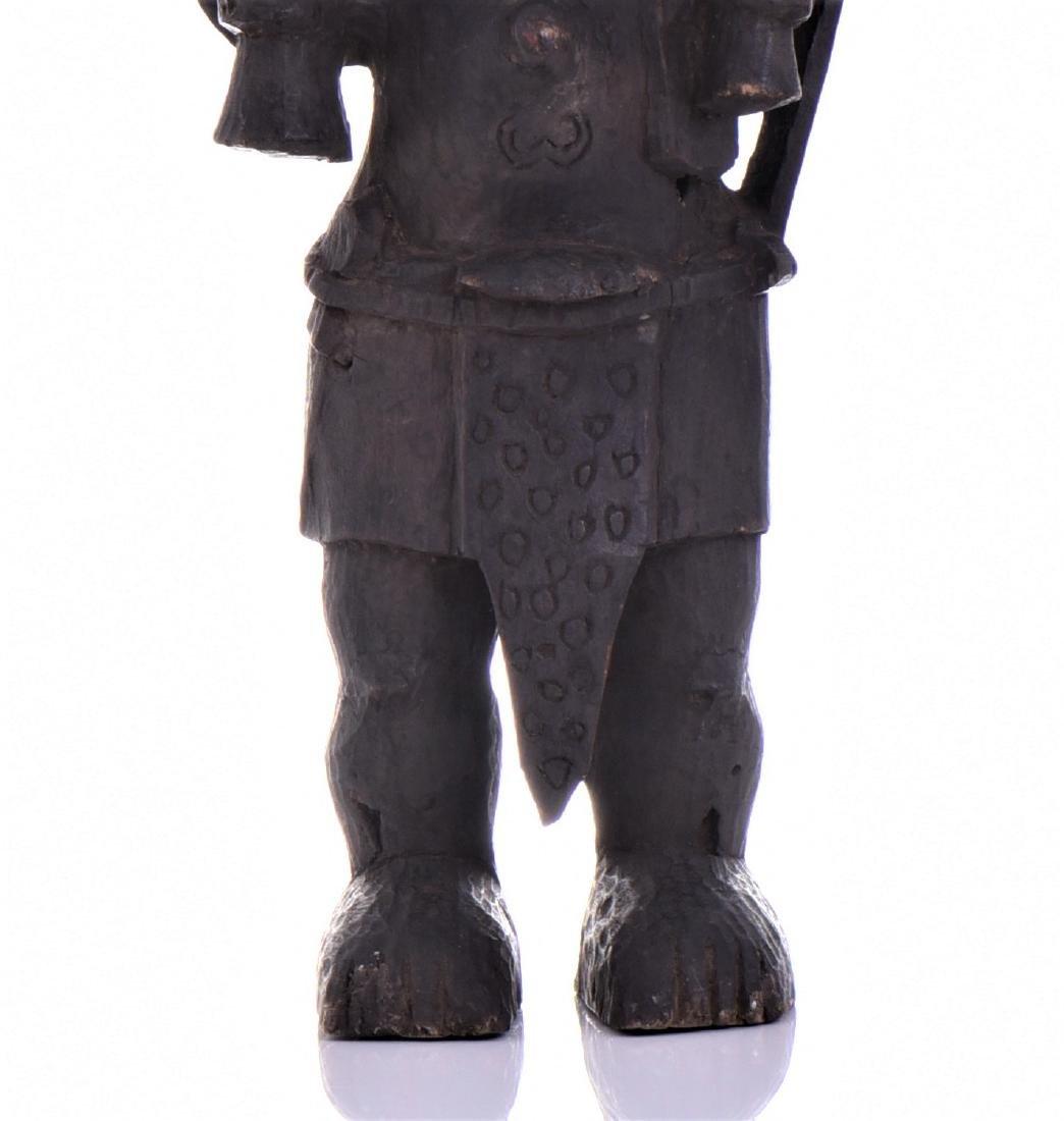 African Lulua Wood Power Figure Warrior King, - 7