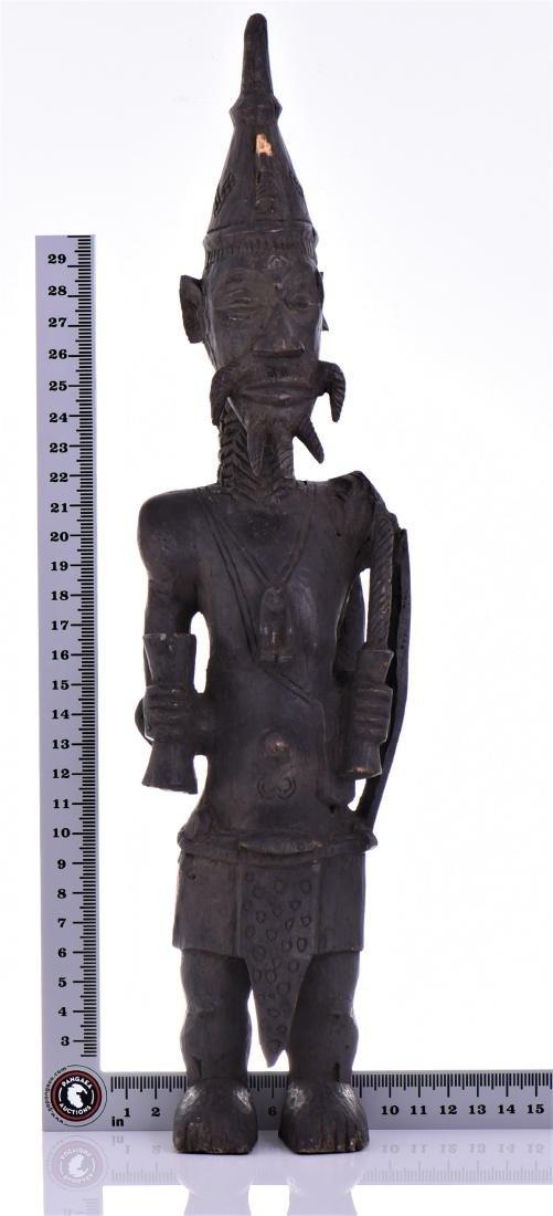 African Lulua Wood Power Figure Warrior King, - 9