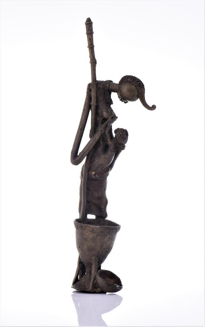 African Dogon Bronze Sculpture of A Mother Nursing